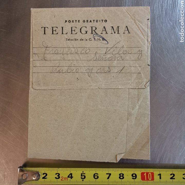 Coleccionismo Papel Varios: Telegrama de 1954, sello del centro de Telefonica de Cornellà 1954, Francisco Vila - Foto 2 - 261150995