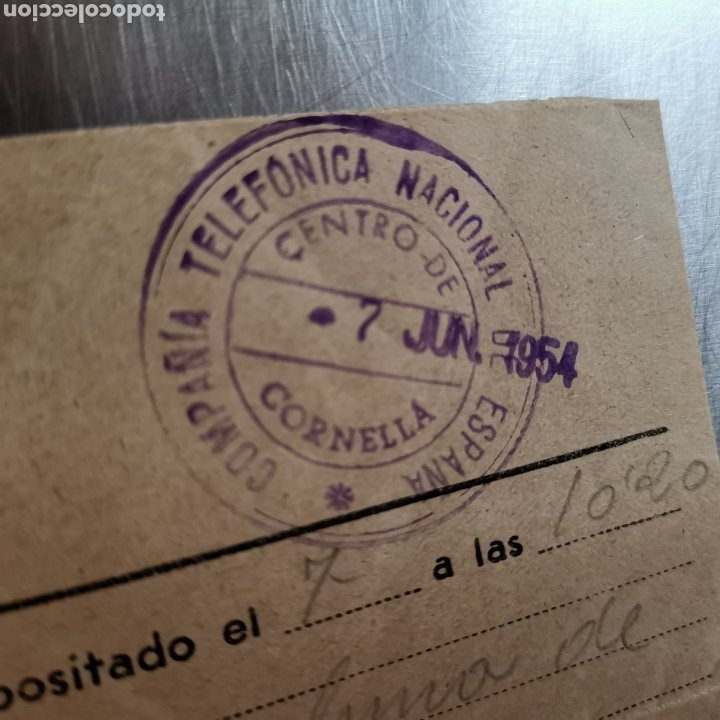Coleccionismo Papel Varios: Telegrama de 1954, sello del centro de Telefonica de Cornellà 1954, Francisco Vila - Foto 5 - 261150995
