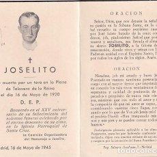 Coleccionismo Papel Varios: RECORDATORIO FÚNEBRE JOSELITO FUE MUERTO EN LA PLAZA DE TOROS DE TALAVERA DE LA REINA 1920. TAURINO. Lote 261241675