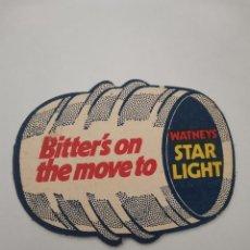 Coleccionismo Papel Varios: OCASION COLECCIONISTAS POSAVASOS ANTIGUO AÑOS 70 80 BITTERS ON THE MOVE TO. WATNEY STAR LIGHT. Lote 262056195