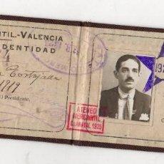 Coleccionismo Papel Varios: CARNET IDENTIDAD ATENEO MERCANTIL VALENCIA. AÑO 1919. Lote 262895870