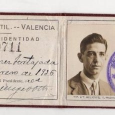 Coleccionismo Papel Varios: CARNET IDENTIDAD ATENEO MERCANTIL VALENCIA. AÑO 1925. Lote 262896050