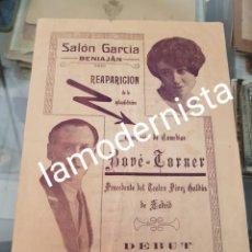 Coleccionismo Papel Varios: ANTIGUO PROGRAMA COMEDIAS BONE TORNER SALON GARCIA BENIAJAN MURCIA RARO. Lote 262904590