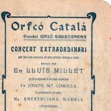 Coleccionismo Papel Varios: ORFEÓ CATALÁ. CONCERT ENVELAT UNIÓ SARRIANESA. OCTUBRE 1904. Lote 262936570