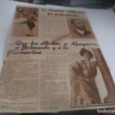 Coleccionismo Papel Varios: RECORTE AÑO 1932 (ZARAGOZA)EL TEMIDO PÚBLICO ...QUE HA SILBADO A GAYARRE,A BELMONTE Y A LA FORNARINA. Lote 263115135