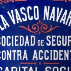 Coleccionismo Papel Varios: LA VASCO-NAVARRA, PUBLICIDAD EN CHAPA ESMALTADA DE GRANDIN. Lote 263115510