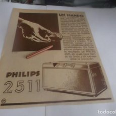 Coleccionismo Papel Varios: RECORTE PUBLICIDAD AÑO 1934 .- PHILIPS 2511. Lote 263116345