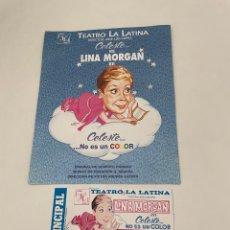 Coleccionismo Papel Varios: ENTRADA DE TEATRO LINA MORGAN CON FOLLETO. Lote 264093045