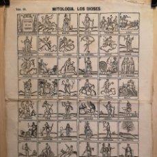 Coleccionismo Papel Varios: AUCA - ALELUYA - MITOLOGÍA DE LOS DIOSES - AÑO 1868 - 33 X 45 CM. Lote 265908713