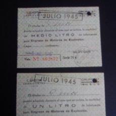 Coleccionismo Papel Varios: ANTIGUOS CUPONES DE RACIONAMIENTO DE LUBRICANTES. CAMPSA. TERUEL. 1945.. Lote 266226573