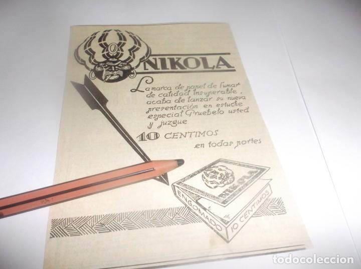RECORTE PUBLICIDAD AÑO 1927.- PAPEL DE FUMAR - NIKOLA (Coleccionismo en Papel - Varios)