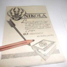 Coleccionismo Papel Varios: RECORTE PUBLICIDAD AÑO 1927.- PAPEL DE FUMAR - NIKOLA. Lote 266300528