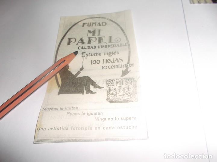 RECORTE PUBLICIDAD AÑO 1927 - PAPEL DE FUMAR MI PAPEL (Coleccionismo en Papel - Varios)