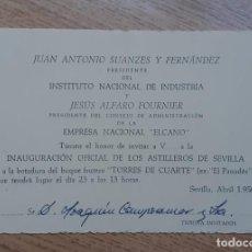 Coleccionismo Papel Varios: TARJETA Y PLANILLO PARA INAGURACION Y BOTADURA ASTILLEROS ELCANO, SEVILLA.. Lote 266527248