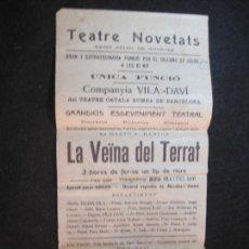 Collectionnisme Papier divers: SANT FELIU DE GUIXOLS-TEATRE NOVETATS-LA VEINA DEL TERRAT-VILA DAVI-PROGRAMA ANY 1931-(K-3113). Lote 267672504