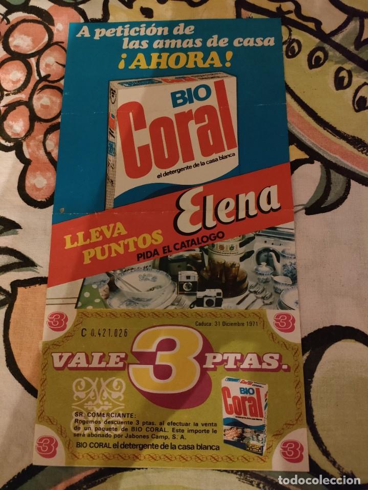CUPON DESCUENTO - DETERGENTE BIO CORAL VALE 3 PTAS - MUY BUEN ESTADO (Coleccionismo en Papel - Varios)