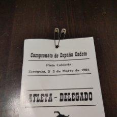 Coleccionismo Papel Varios: CAMPEONATO DE ESPAÑA ZARAGOZA 2-3 MARZO 1991. Lote 268906449