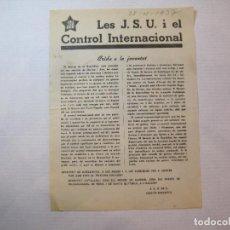 Coleccionismo Papel Varios: GUERRA CIVIL-PANFLETO-J.S.U.-CONTROL INTERNACIONAL-JOVENTUT A LES ARMES-AÑO 1937-VER FOTOS-(K-3283). Lote 269154253