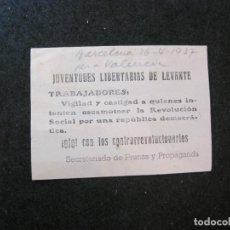 Coleccionismo Papel Varios: GUERRA CIVIL-JUVENTUDES LIBERTARIAS DE LEVANTE-PANFLETO-AÑO 1937-VER FOTOS-(81.645). Lote 269155258