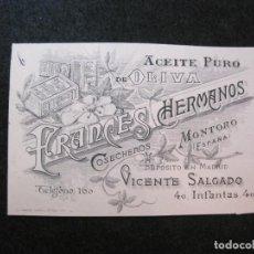 Coleccionismo Papel Varios: MONTORO-FRANCES HERMANOS-ACEITE DE OLIVA-PUBLICIDAD ANTIGUA-VER FOTOS-(81.646). Lote 269161298