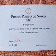 Coleccionismo Papel Varios: INVITACIÓN A CENA ENTREGA PREMIO PLANETA 1988. Lote 269219638