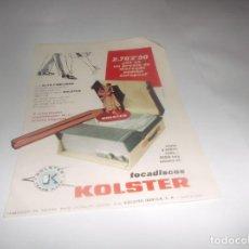 Coleccionismo Papel Varios: RECORTE PUBLICIDAD AÑOS 50 - TOCADISCOS KOLSTER (( FOCKINK - DRY GIN- CON COCA-COLA Ó PEPSI. Lote 269222958