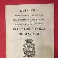 Coleccionismo Papel Varios: DESPACHO PARA COMPRAS DE GANADO VACUNO Y LANAR PARA EL ABASTO, MADRID J. IBARRA 1784. Lote 269225328