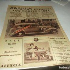 Coleccionismo Papel Varios: RECORTE AÑO 1934.- AUTOMÓVIL GRAHAM ,MOTOR 95 HP.(CORONEL CAPAZ. SIDI IFNI - CINE PALACIO. Lote 269225688