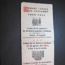 Coleccionismo Papel Varios: ESBART CATALA DE DANSAIRES-FESTA DE LA MUSICA I DANSA CATALANA-PROGRAMA ANY 1934-VER FOTOS-(K-3391). Lote 269958198