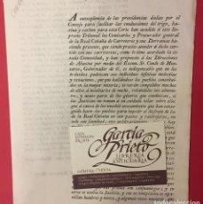 Coleccionismo Papel Varios: CONDE DE MONTARCO 1804, PRIVILEGIOS PARA LOS CARRETEROS SIENDO PRECISO AYUDARLOS CON SUS. Lote 271546468