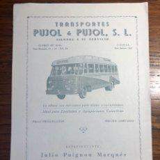 Collectionnisme Papier divers: HOJA DE REVISTA PUBLICIDAD TRANSPORTES PUJOL AUTOBÚS CALISAY SARDANA. Lote 271555303