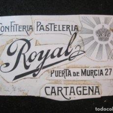 Coleccionismo Papel Varios: CARTAGENA-CONFITERIA PASTELERIA ROYAL-ORIGINAL PUBLICIDAD-VER FOTOS-(K-3616). Lote 273752533