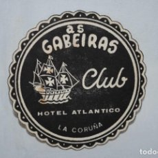 Coleccionismo Papel Varios: POSA VASOS , AS GABEIRAS CLUB , LA CORUÑA. Lote 276460913
