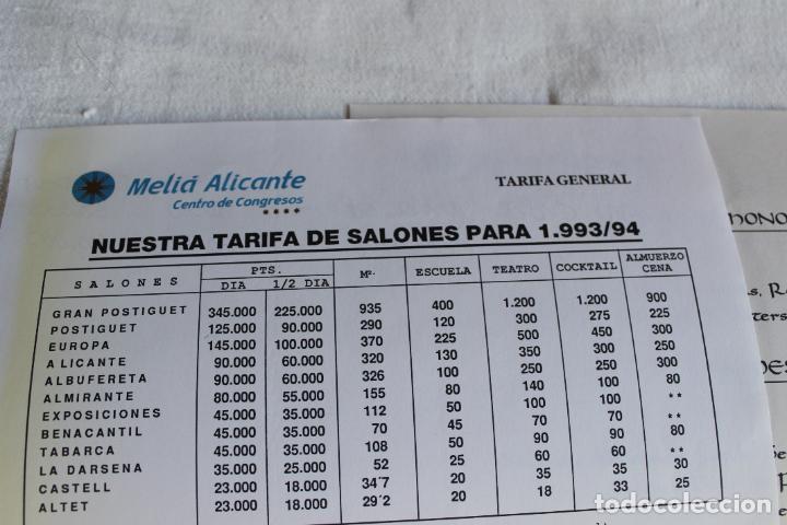 Coleccionismo Papel Varios: HOTEL MELIA ALICANTE 1993 PRECIOS PARA EVENTOS EN SUS SALONES - Foto 3 - 276801073