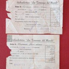Coleccionismo Papel Varios: PAREJA DE RECIBOS DE LA HIDROELÉCTRICA LOS TORREONES DEL MUNDO. 1952 1953. W. Lote 277145203