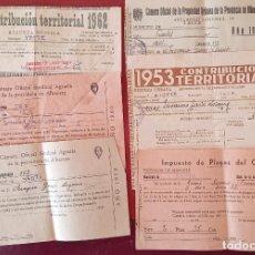 Coleccionismo Papel Varios: LOTE DE RECIBOS Y TARJETAS DE ABASTECIMIENTO, CONTIBUCIÓN . MITAD DE SIGLO XX. YESTE ALBACETE. W. Lote 277148443