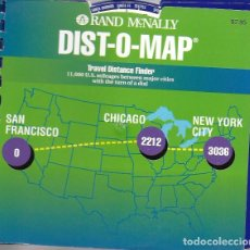 Coleccionismo Papel Varios: RANED MACNALLY DIST-O-MAP. TRAVEL DISTANCE FINDER. 19X20 CM. USA MAP. Lote 277274113