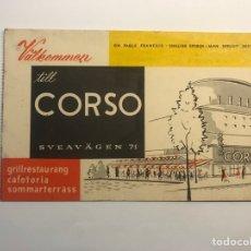 Coleccionismo Papel Varios: ESTOCOLMO - STOCKHOLM, TARJETA PUBLICITARIA. TILL CORSO GRILLRESTAURANG CAFETERÍA (H.1960?). Lote 277274473