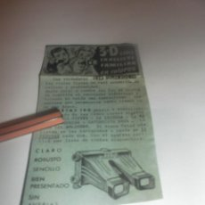 Coleccionismo Papel Varios: RECORTE PUBLICIDAD AÑO 1962-JUEGO PARA NIÑOS 3-D CINE EN RELIEVE FAMILIAR EN COLORES,CON 5 CINTAS. Lote 278624283