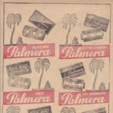 Coleccionismo Papel Varios: HOJA DE PUBLICIDA MODELOS DE HOJAS DE AFEITAR PALMERA - MEDIDAS 20 X 28 MM.. Lote 278795523