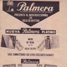 Coleccionismo Papel Varios: HOJA DE PUBLICIDA MODELOS DE HOJAS DE AFEITAR PALMERA - MEDIDAS 20 X 28 MM.. Lote 278796218