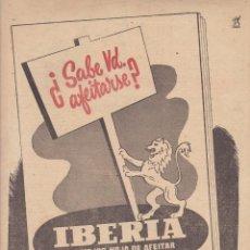 Coleccionismo Papel Varios: HOJA DE PUBLICIDA HOJAS DE AFEITAR IBERIA - MEDIDAS 20 X 28 MM.. Lote 278796343