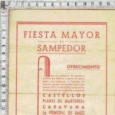 Coleccionismo Papel Varios: PROGRAMA FIESTA MAYOR DE SAMPEDOR 1944.. Lote 279577638