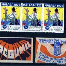 Coleccionismo Papel Varios: TRES VIÑETAS SEMANA SANTA DE MALAGA AÑO 1927 Y DOS FUNDAS CON PUBLICIDAD DE CEREGUMIL .. Lote 281962713