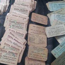 Collectionnisme Papier divers: GRAN LOTE 187 VALE CAFÉS VALIENTE VALENCIA SELLO RUZAFA Y 19 CAFÉ BAHÍA. Lote 287490728