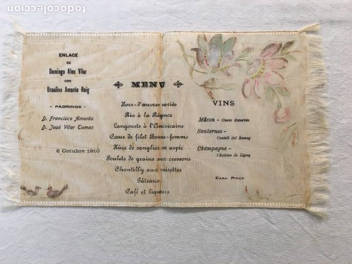 Coleccionismo Papel Varios: Espectacular Menú en Seda y pintado a mano. Enlace de Domingo Aleu con Ursulina Amorós. 1910 - Foto 2 - 287853963