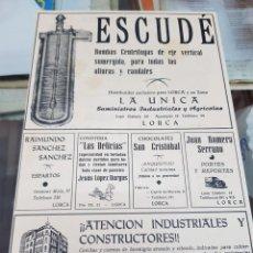 Coleccionismo Papel Varios: ANTIGUA HOJA PUBLICIDAD COMERCIAL LORCA MURCIA. Lote 287984938