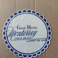 Coleccionismo Papel Varios: 9 CM POSAVASOS REDONDO PAPEL LOCAL GRAN HOTEL MONTERREY COSTA BRAVA LLORET DE MAR. Lote 288972623
