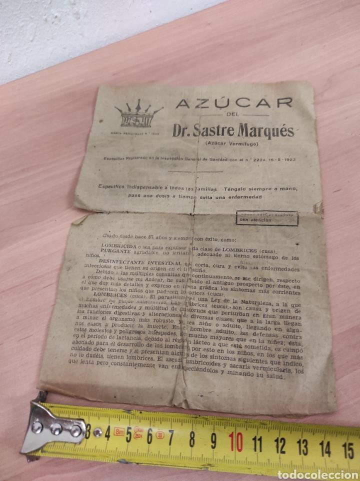 Coleccionismo Papel Varios: Azucar del Dr. Sastre Marqués. -Barcelona. Folleto publicidad del medicamento. Años 40/50 - Foto 2 - 289714863