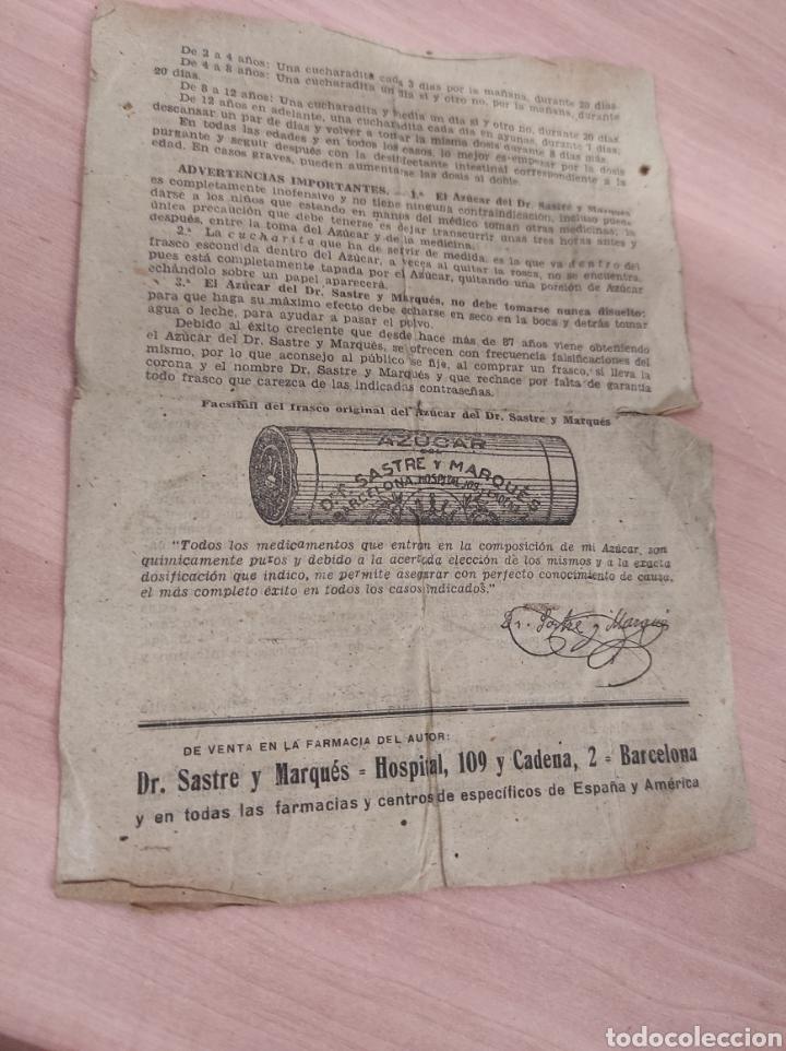 Coleccionismo Papel Varios: Azucar del Dr. Sastre Marqués. -Barcelona. Folleto publicidad del medicamento. Años 40/50 - Foto 4 - 289714863